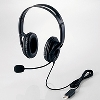 USBヘッドセットマイクロフォン/両耳大型オーバーヘッド/片出しケーブル/1.8m/ブラック [HS-HP28UBK]